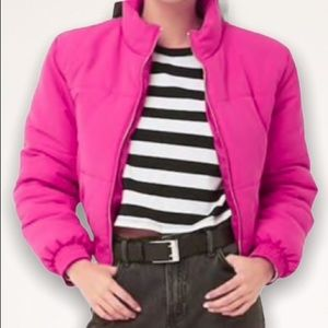 F21 Pink Cropped Puffy Bomber Jacket